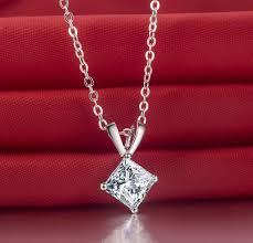 diamond necklace gift images 2ct princess synthetic diamonds engagement pendant necklace jpg
