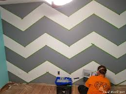 Geometric Triangle Wall Paint Design Idea With Tape DIY For Life - Wall paint design