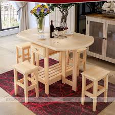 multi purpose dining table solid pine wood semi circle fold able coffee dining table with four