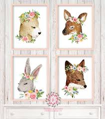 Woodland Home Decor 4 Deer Fox Bunny Rabbit Bear Woodland Boho Printable Print Wall