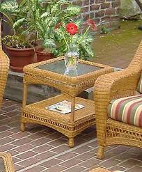 Palm Springs Outdoor Furniture by Palm Springs Resin Wicker End Table With Glass Top