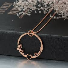 Name Charm Personalized Rose Gold Color Circle Necklace With Cut Out Heart 2