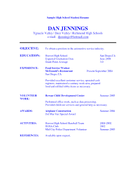 Objective Of Resume Examples by High Student Resume Objective Examples Sample Resume