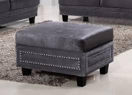 meridian furniture ferrara 655gry ott modern grey velvet storage