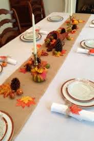 ivory white tablecloth burlap runner napkins and fall decor