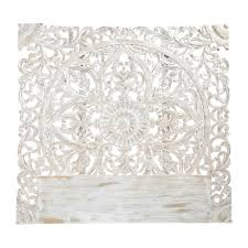 carved solid mango wood headboard in white with distressed finish