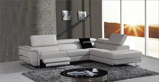 Modern Gray Leather Sofa Reclining Leather Sectional Sofa Divani Casa E9054 Modern