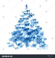 blue watercolor christmas tree isolated on stock illustration