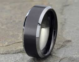 black wedding bands for men mens wedding ring etsy