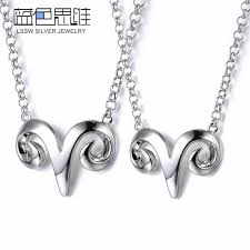 silver jewellery necklace sets images Blue sweet couple necklaces lovely sheep head necklace for women jpg