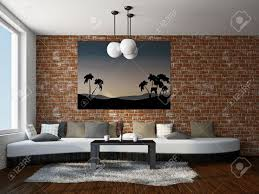 Livingroom With Big Sofa Near The Brick Wall Stock Photo Picture