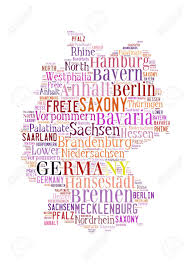 Bavaria Germany Map by Germany Map And Words Cloud With Larger Cities Stock Photo