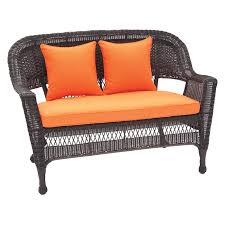 crosley kiawah outdoor wicker loveseat with sangria cushions