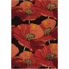 Modern Floral Area Rugs Nourison Fa26 Handmade Modern Floral Area Rug Black