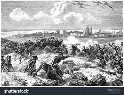 vintage siege siege danzig vintage engraved illustration history stock