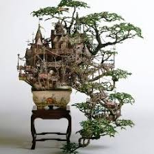 takanori aiba s miniature worlds set in real bonsai trees