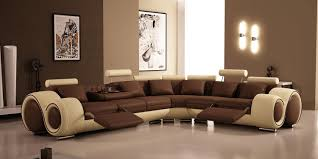 living room brown leather sectional sofa stainless standing