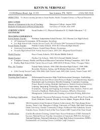 Physical Education Resume Examples by Kevin Veroneau Teaching Resume