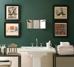 bathroom paint idea with wall arts and pedestal sink and tile