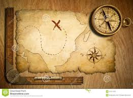World Treasure Map by Aged Treasure Map Ruler And Old Brass Compass Stock Photos