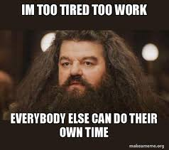 Too Tired Meme - im too tired too work everybody else can do their own time hagrid