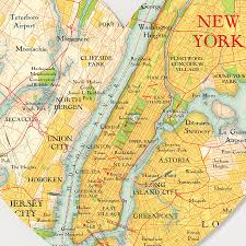 New York Islands Map by New York Map Heart Print By Bombus Off The Peg