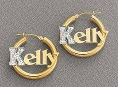 Name Hoop Earrings Genuine 10kt Gold I Love You Bamboo Hoop Name Earrings Custom