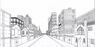 one point perspective drawing city cityscape using one point