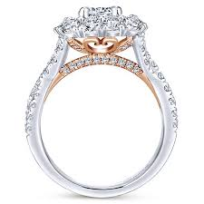 engaged ring lara 14k white and gold halo engagement ring