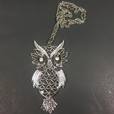 vintage owl necklace jewelry images Vintage owl necklace articulated rhinestone eyes heads up jpg