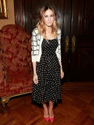 how to wear a black and white polka dot fit and flare dress 1