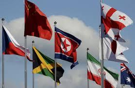 Flag Im Olympia Verbotene Nordkoreanische Flagge Weht In Südkorea