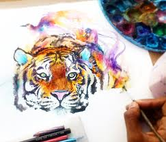 tiger watercolor by art jongkie drawing and painting pinterest