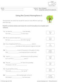 primaryleap co uk using the correct homophone 3 worksheet