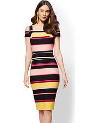 sheath dress deals on striped cold shoulder sheath dress