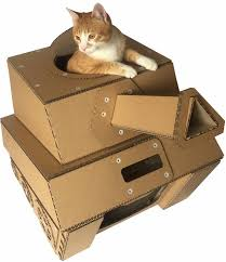 eco friendly sturdy cardboard tank cat house cat bed u2013 mau katz
