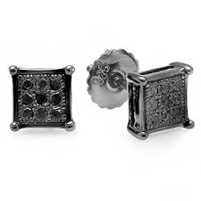 mens black diamond earrings 0 10 carat ctw black rhodium plated silver real