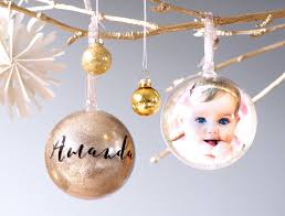 rose gold glitter personalized christmas photo ornaments