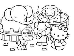 kitty and zoo animals coloring page for kids animal coloring