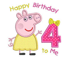 peppa pig birthday girl s 4th birthday applique embroidery design peppa pig