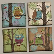 4 whimsical fantasy owls in trees home decor art prints 12 by 12