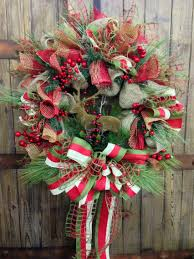 rustic christmas burlap wreath by williamsfloral on etsy 105 00