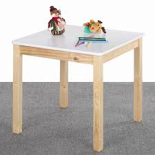 ikayaa cute wooden table kids table solid pine wood square toddler