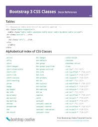 Bootstrap Table Class Bootstrap 3 Cheat Sheet Pdf Reference