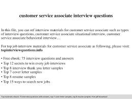 Customer Service Associate Resume Sample Customer Service Associate Interview Questions