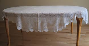 72 inch x 108 inch oval crochet lace table cloth