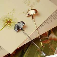 Gold Boutonniere Online Cheap Men Ginkgo Biloba Gold Silver Leaf Lapel Stick Brooch