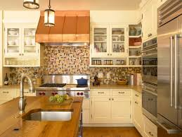 decorating stunning glass front cabinets and tile backsplash plus