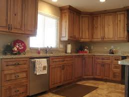 l shape kitchen design and decoration using light brown rustic