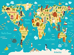 usa map kindergarten world map poster with animals large